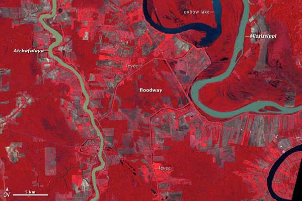 cauce del río Mississippi en 1977, foto NASA