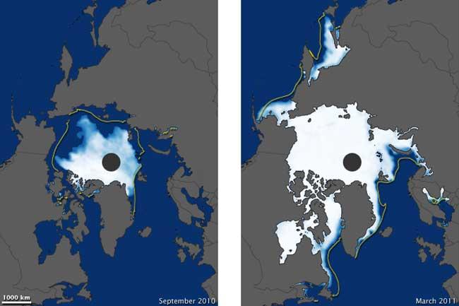 concentración de hielo marino (en porcentaje, 2010 2011)