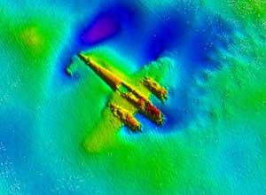Dornier-17 sumergido en Goodwin Sands, Inglaterra - imagen de sonar