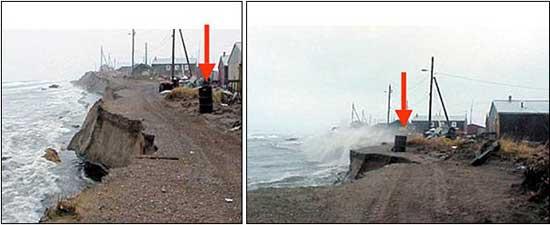 erosión en la costa por la disminución del hielo marino