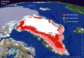 extensión del hielo de Groenlandia, 1992-2005