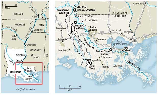 gráfico de la situación en el mapa del Cauce Morganza