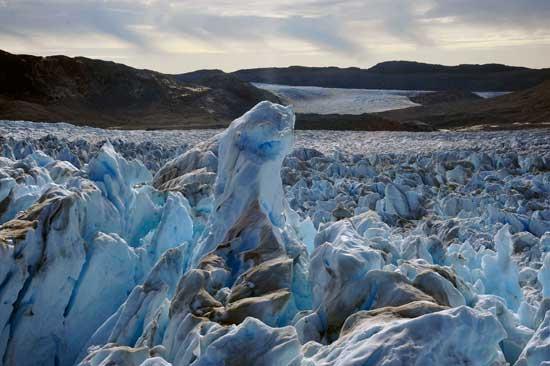 grietas en un glaciar, zona Jakobshavn Isbrae, Groenlandia