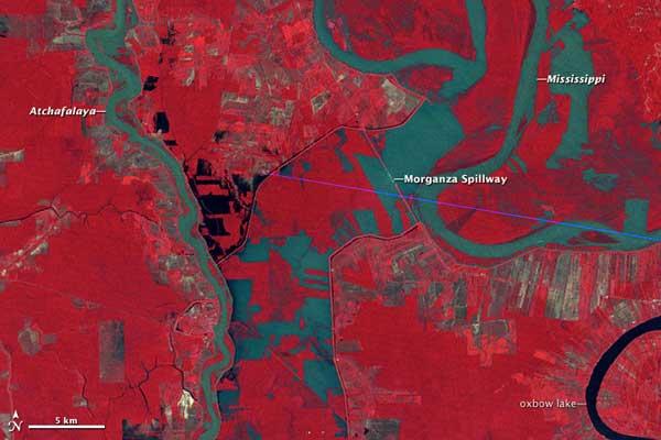 inundación río Mississippi en 1973, foto NASA