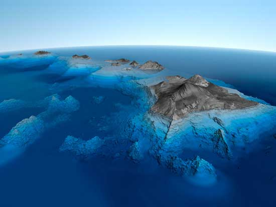 mapa en 3d de las Islas Hawai