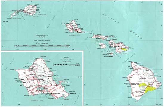 mapa de las Islas Hawai