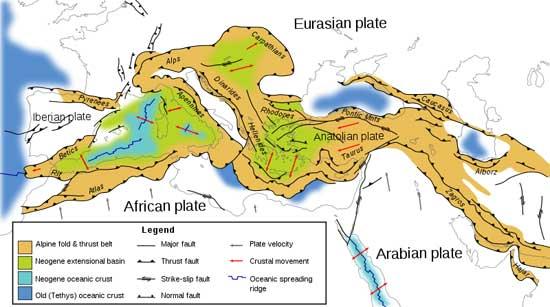 mapa tectónico del Mediterraneo