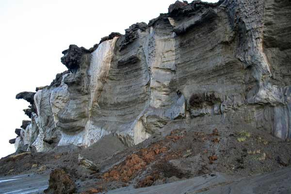 erosión del permafrost en la costa del Mar de Laptev