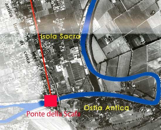 plano de situación de los restos del barco en Ostia Antica