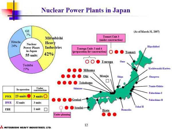 mapa de las plantas nucleares en Japón