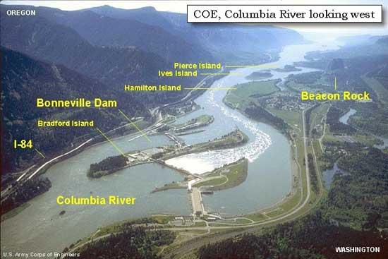 Presa de Bonneville, río Columbia EE.UU.