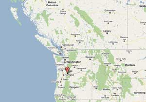 mapa situación de la presa de Bonneville, río Columbia, EE.UU.