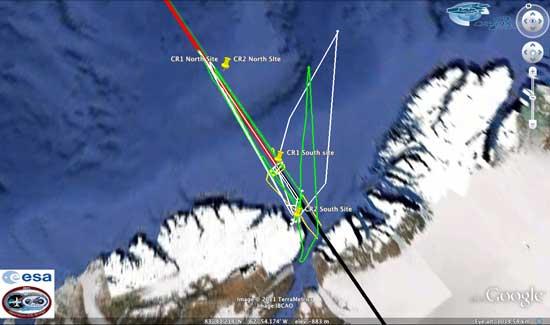 recorrido Cryosat  y aviones P3 de la NASA