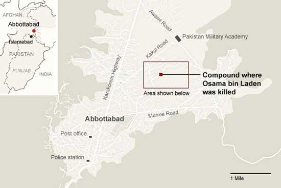 localización del refugio de Bin Laden en Pakistan