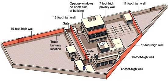 localización del refugio de Bin Laden en Abbottabad, plano de la casa