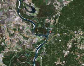 mapa alrededores de Vicksburg, Mississippi, EE.UU.