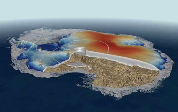 Mapa de la Antártida obtenido por el Cryosat