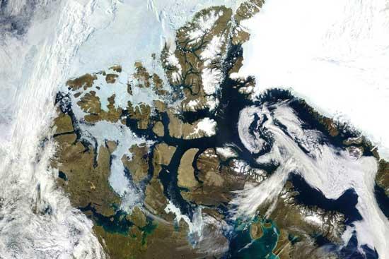 archipiélago ártico de Canadá-vista satélite