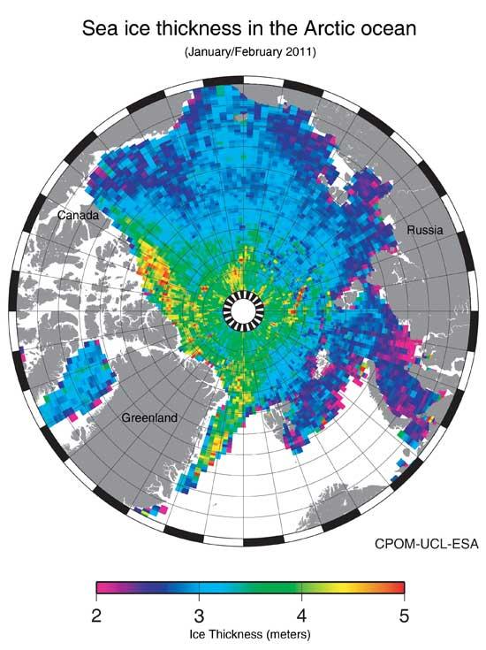 mapa del hielo marino del ártico ene-feb de 2011