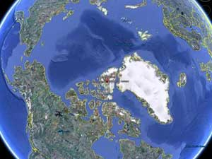 situación en el globo de las Islas del Ártico canadiense
