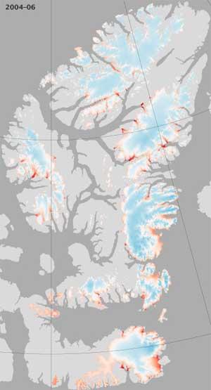 islas del Ártico canadiense, mapa perdida hielo 2004-05
