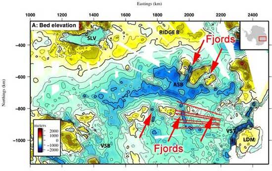 fiordos gigantes en la Cuenca Subglacial Aurora