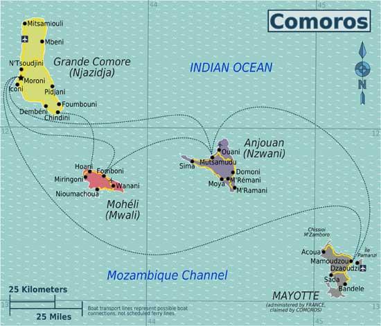 mapa de las islas Comores