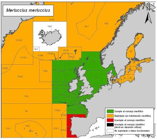 mapa de riesgo pesquero de la merluza