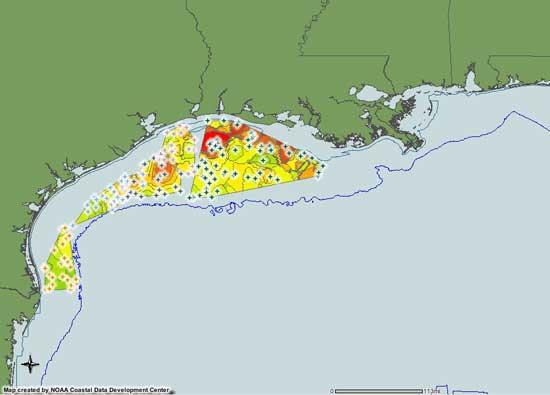 mapa zonas hipóxia en el Golfo de México