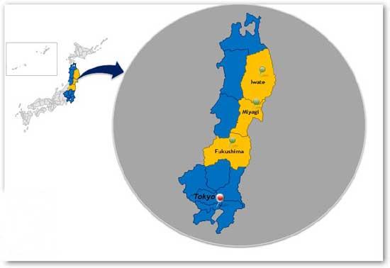 mapa de las zonas del tsunamien Japón