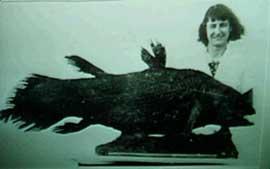 Marjorie Courtney-Latimer, con el celacanto disecado