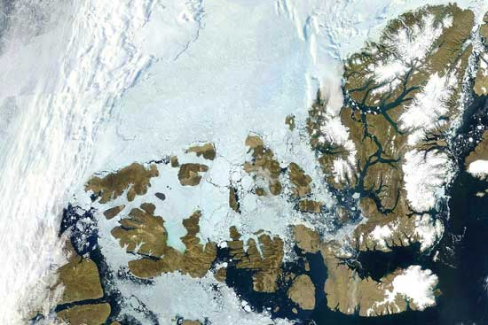 norte del archipiélago ártico, Canadá - imagen MODIS