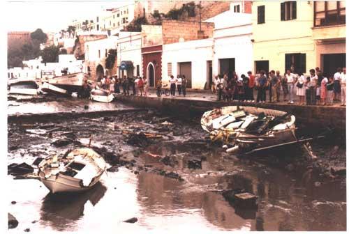 rissaga junio de 1984, puerto de Ciudadela, Menorca
