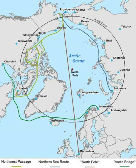 mapa rutas marítimas del ártico