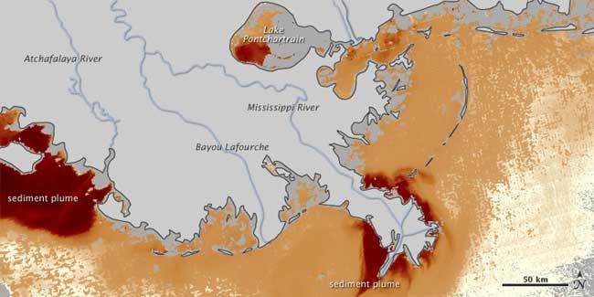sedimentos en el Golfo de México, inundación Mississippi, 01-06-2011
