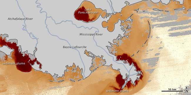 sedimentos en el Golfo de México, inundación Mississippi, 17-05-2011