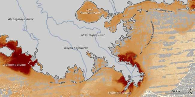 sedimentos en el Golfo de México, inundación Mississippi, 29-04-2011