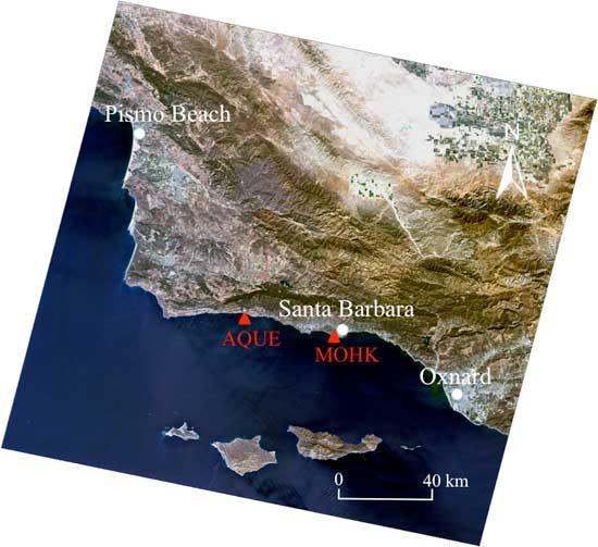 vista desde satélite algas marinas gigantes en California