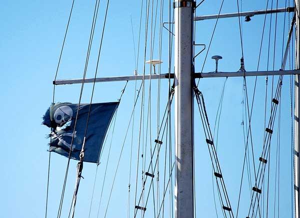 bandera pirata ondeando en un mastil