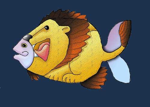 caricatura de pez león