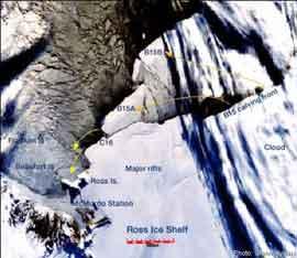 desprendimiento icebergs plataforma Ross año 2000