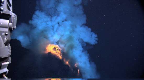 Detalle lava volcán submarino