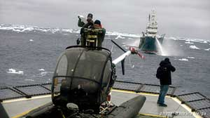 elicóptero de Sea Shepherd atacado por el Shonan Maru 2