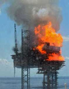 fuego en la plataforma petrolera West Atlas, Timor