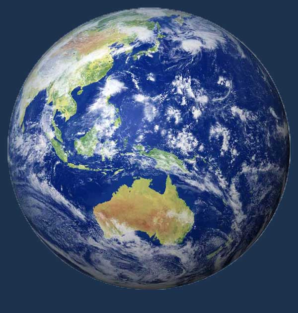globo terráqueo, océanos desde el espacio