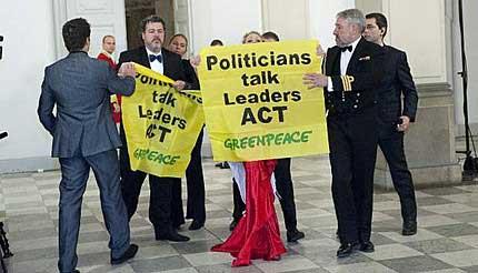 Greenpeace, pancarta en Copenhague