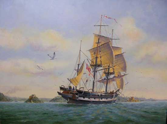 HMS Beagle en el puerto de Sydney, 1838