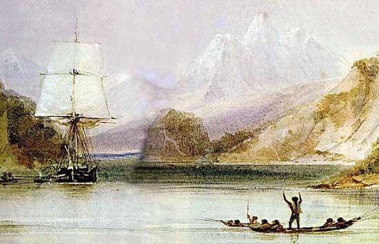 HMS Beagle en la Tierra del Fuego