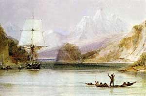 dibujo del HMS Beagle por Conrad Martens