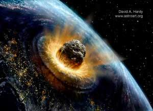 impacto deun asteroide sobre la tierra